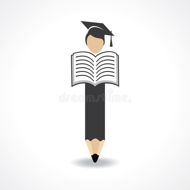 Дизайн студента с карандашем и крышкой градации носки с концепцией книги чтения бесплатная иллюстрация