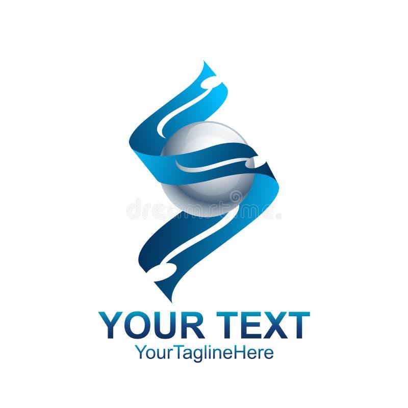 Дизайн сферы голубой ленты логотипа начального письма s покрашенный шаблоном иллюстрация штока