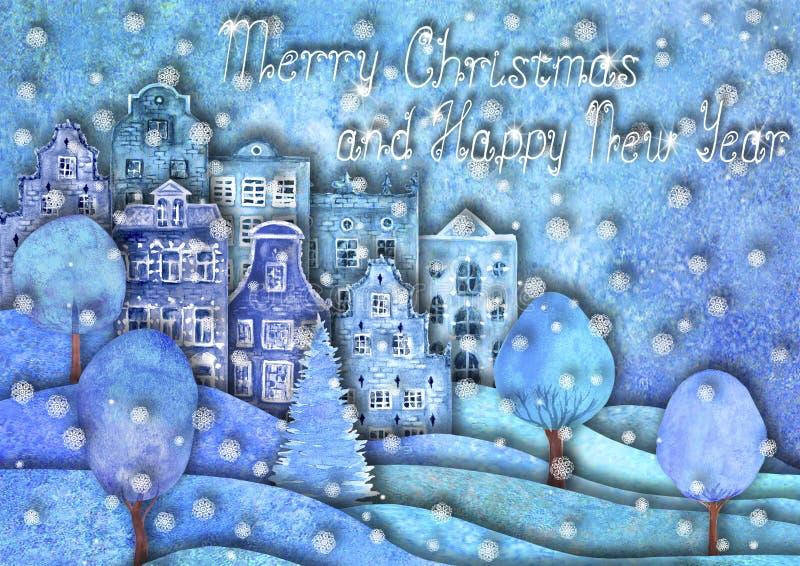 Дизайн счастливого Нового Года и веселого рождества Холмы руки Watercolour вычерченные, дома, деревья, снежинки бесплатная иллюстрация