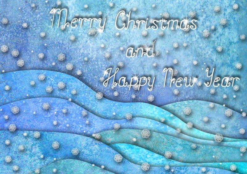 Дизайн счастливого Нового Года и веселого рождества Холмы руки Watercolour вычерченные, снежинки на пурпурной голубой предпосылке иллюстрация вектора