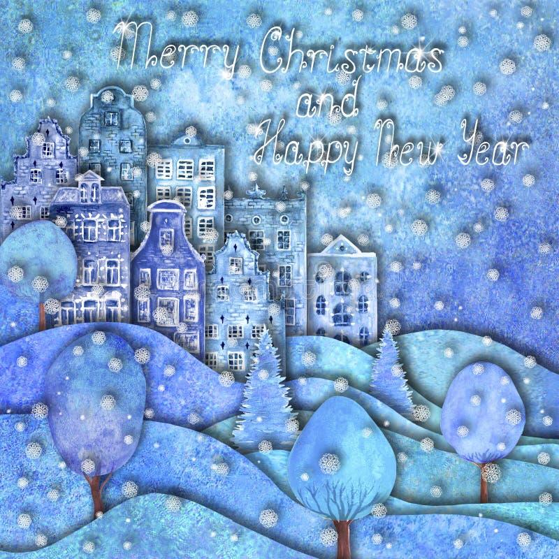 Дизайн счастливого Нового Года и веселого рождества Холмы руки Watercolour вычерченные, дома, деревья, снежинки иллюстрация вектора