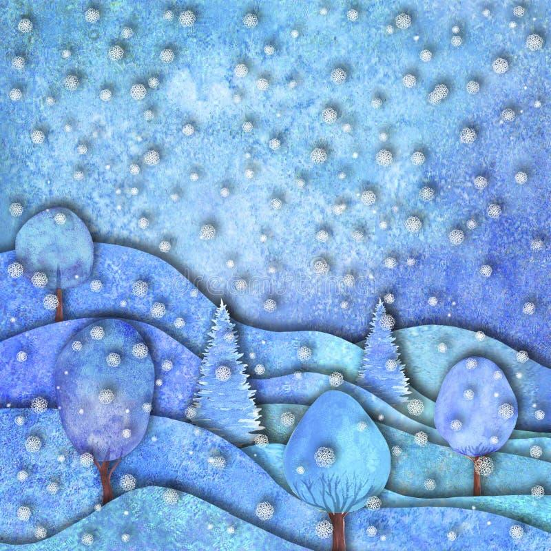Дизайн счастливого Нового Года и веселого рождества Холмы руки Watercolour вычерченные, дома, снежинки бесплатная иллюстрация