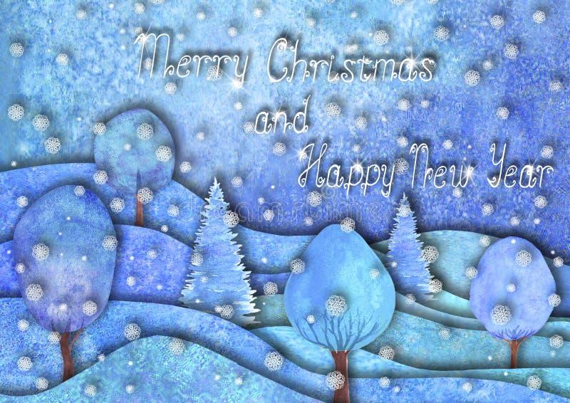 Дизайн счастливого Нового Года и веселого рождества Холмы руки Watercolour вычерченные, деревья, снежинки на пурпурной голубой пр иллюстрация вектора