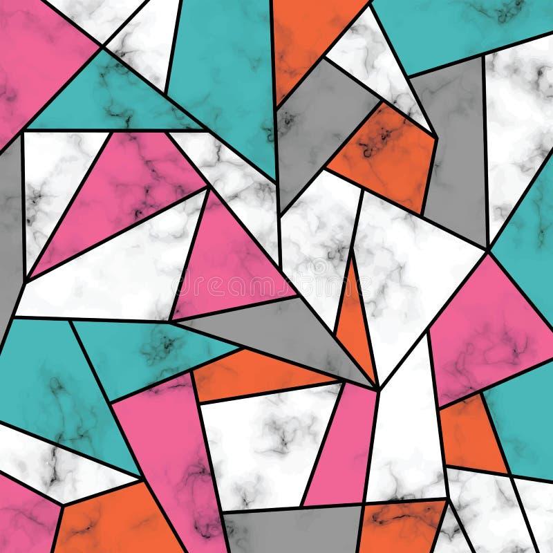 Дизайн с геометрическими линиями, черно-белая мраморизуя поверхность текстуры вектора мраморный, современная роскошная предпосылк иллюстрация штока