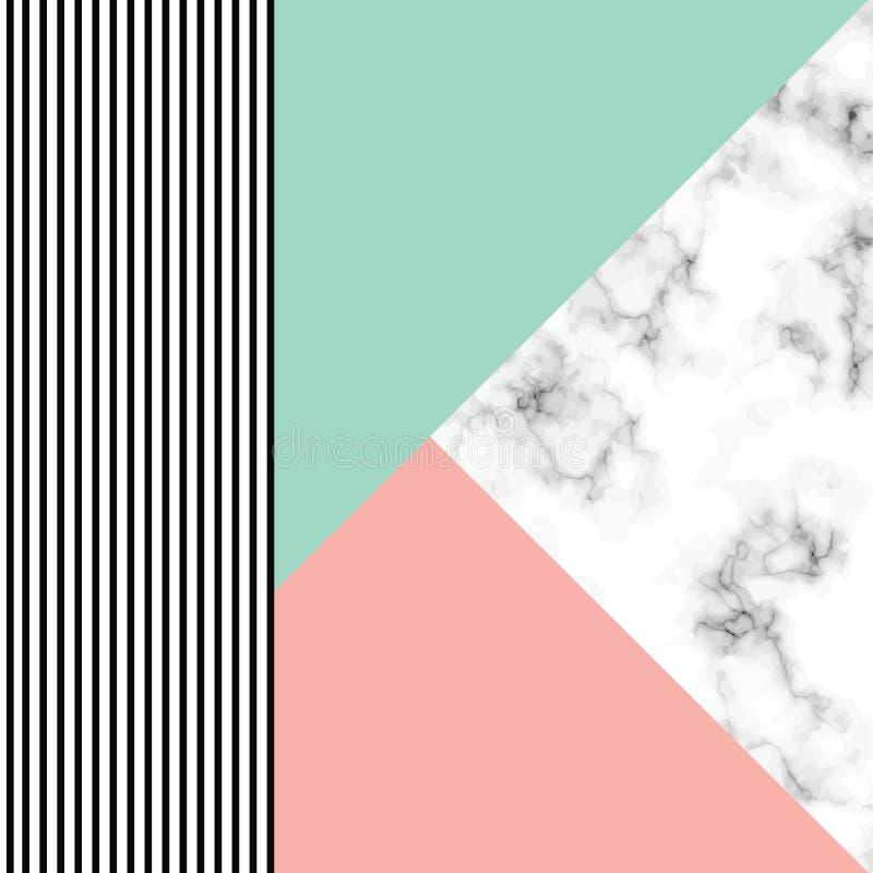 Дизайн с геометрическими формами, черно-белая мраморизуя поверхность текстуры вектора мраморный, современная роскошная предпосылк иллюстрация вектора