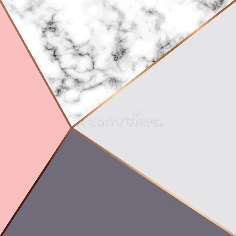 Дизайн с золотыми геометрическими линиями, черно-белая мраморизуя поверхность текстуры вектора мраморный, современная роскошная п бесплатная иллюстрация