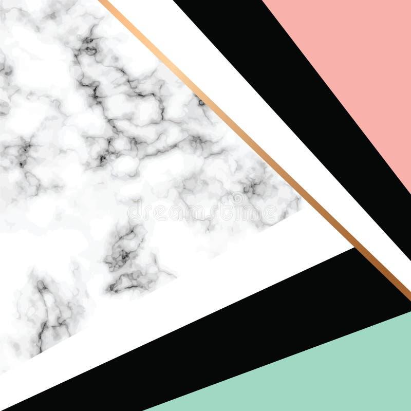 Дизайн с золотыми геометрическими линиями, черно-белая мраморизуя поверхность текстуры вектора мраморный, современная роскошная п иллюстрация вектора