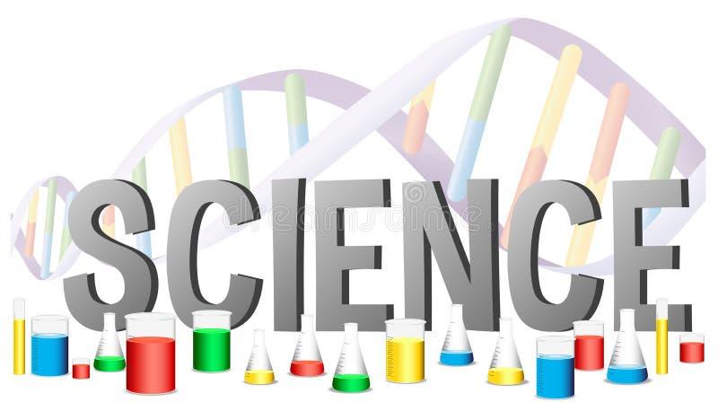 Дизайн слова для науки с оборудованиями науки иллюстрация штока