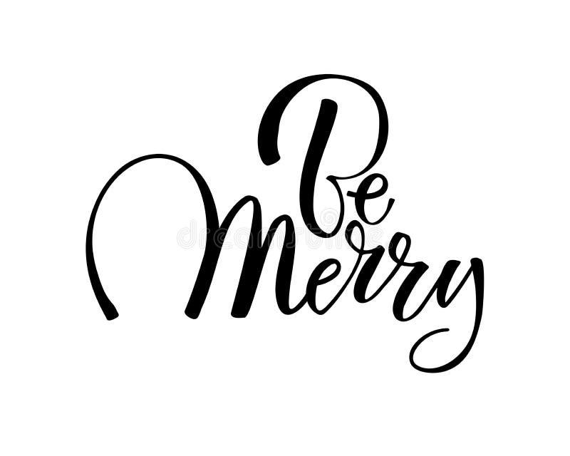 Дизайн текста веселого рождества Логотип вектора, оформление Годный к употреблению как знамя, поздравительная открытка, пакет etc иллюстрация штока