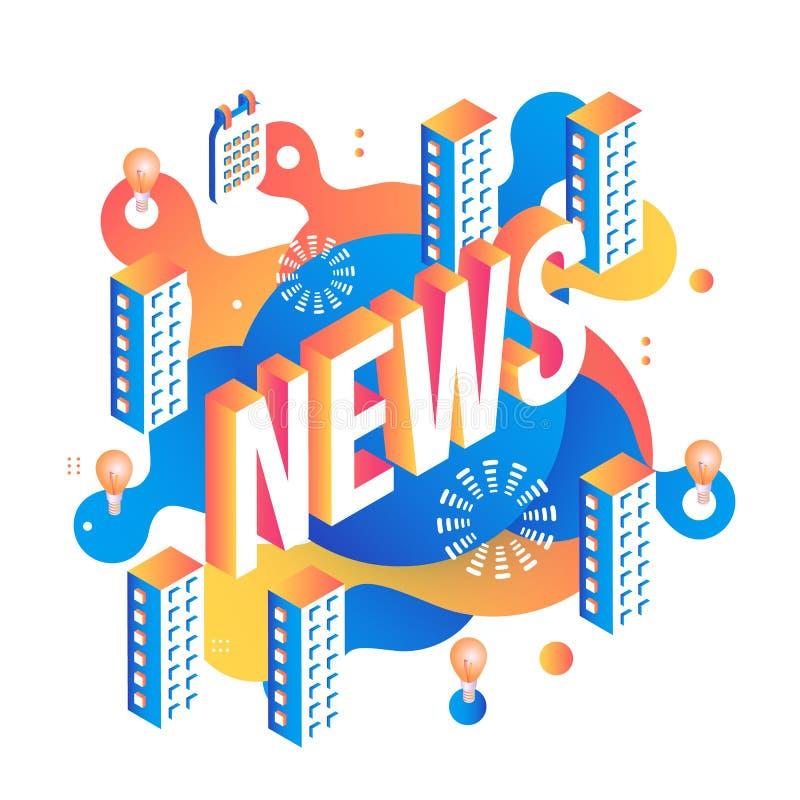 Дизайн текста новостей равновеликий на абстрактной геометрической предпосылке с жидким голубым и оранжевым пузырем цвета формируе иллюстрация штока