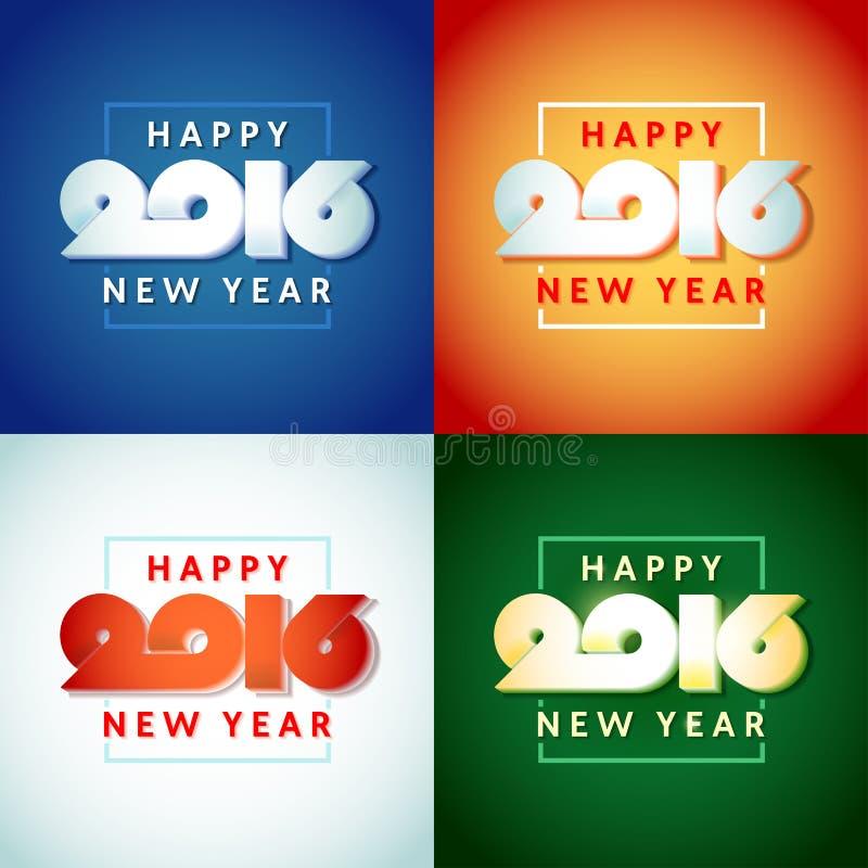 Дизайн текста счастливого Нового Года 2016 иллюстрация вектора