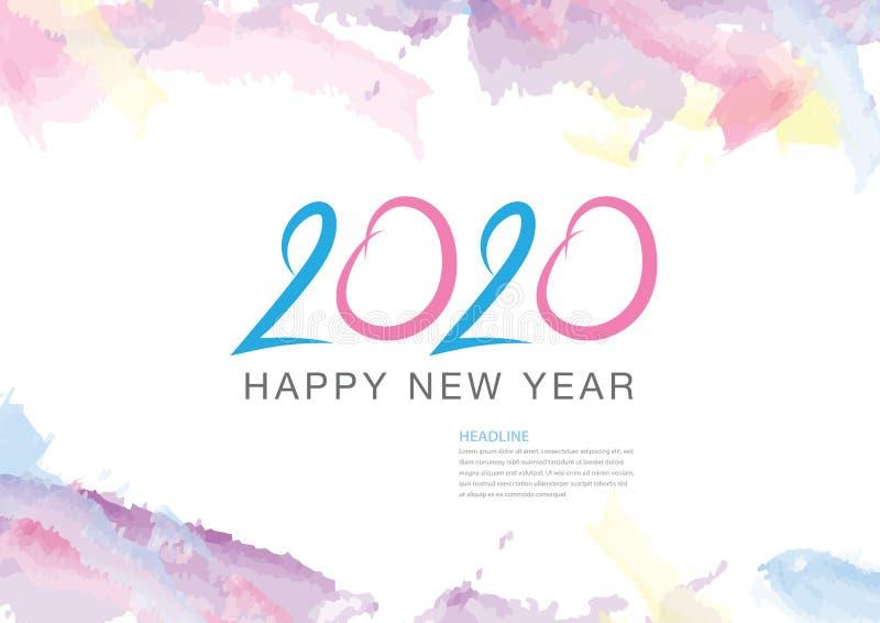дизайн 2020 текстов и красочный brushstroke, собрание С Новым Годом! и счастливые праздники, шаблон крышки календаря 2020, знамя иллюстрация штока