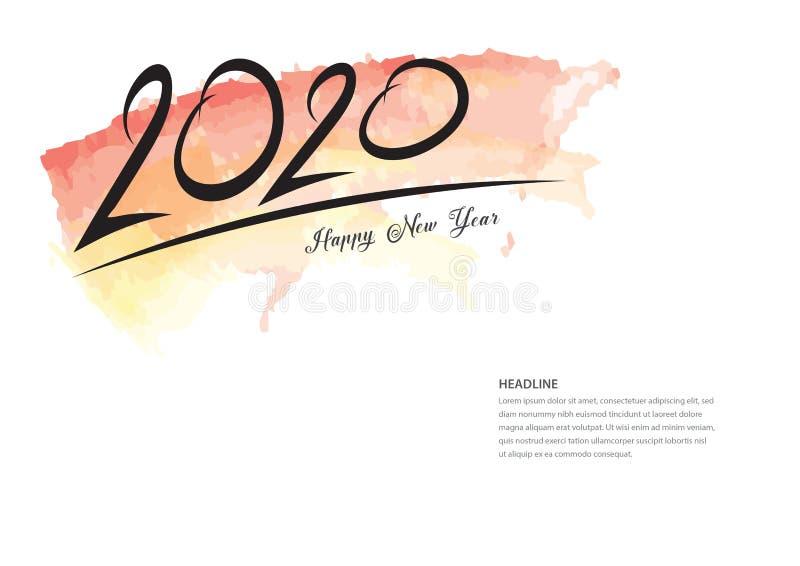 дизайн 2020 текстов и красочный brushstroke, собрание С Новым Годом! и счастливые праздники, шаблон крышки календаря 2020, знамя иллюстрация вектора