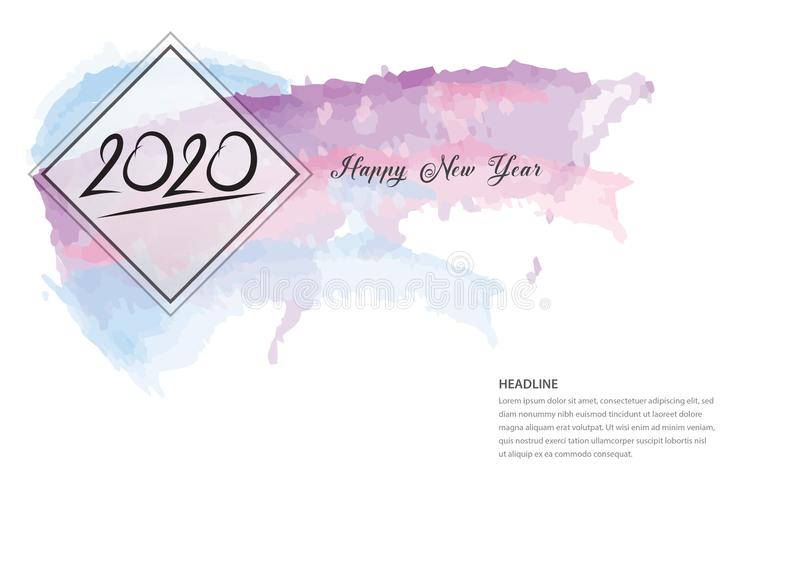 дизайн 2020 текстов и красочный brushstroke, собрание С Новым Годом! и счастливые праздники, шаблон крышки календаря 2020, знамя бесплатная иллюстрация