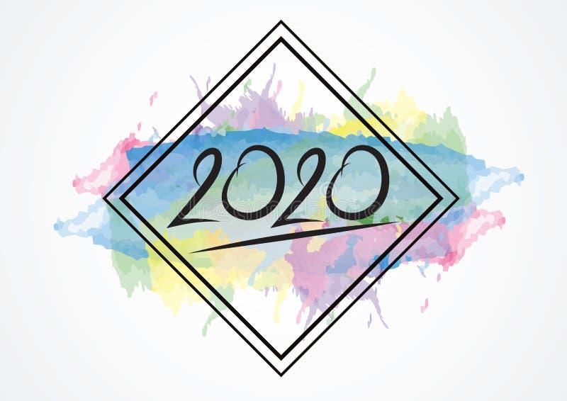 дизайн 2020 текстов и красочный brushstroke с рамкой, собрание С Новым Годом! и счастливые праздники, templat крышки календаря 20 бесплатная иллюстрация