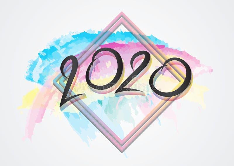 дизайн 2020 текстов и красочный brushstroke с рамкой, собрание С Новым Годом! и счастливые праздники, крышка календаря 2020 иллюстрация штока