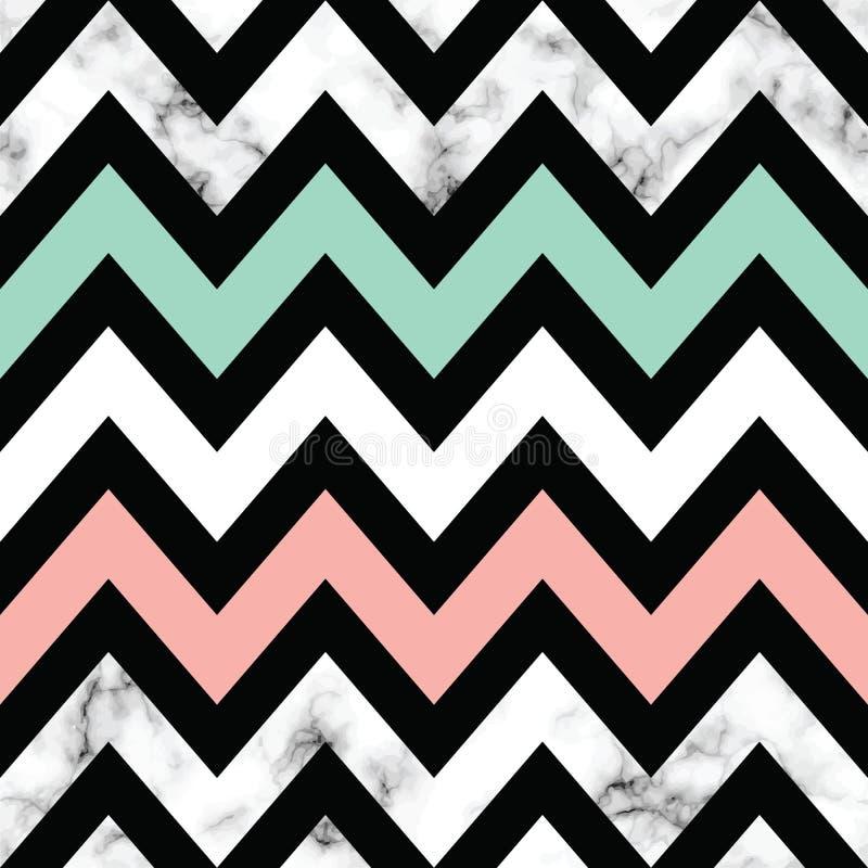 Дизайн текстуры вектора мраморный с геометрическим шевроном формирует, черно-белая мраморизуя поверхность, современная роскошная  иллюстрация штока