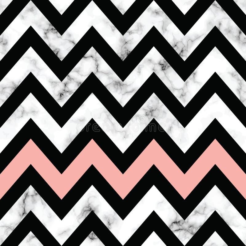 Дизайн текстуры вектора мраморный с геометрическим шевроном формирует, черно-белая мраморизуя поверхность, современная роскошная  иллюстрация вектора