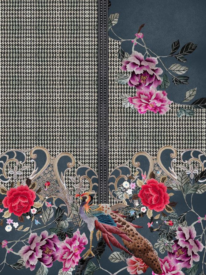 Дизайн текстуры вышивки цветков черный белый стоковое фото