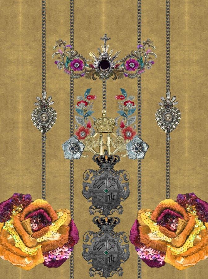 Дизайн текстуры цветков вышивки желтый стоковое фото