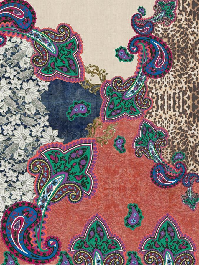 Дизайн текстуры цветов вышивки Пейсли стоковое изображение