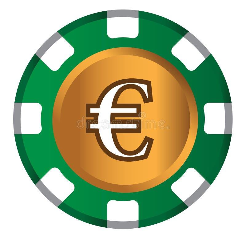Дизайн темы Евро-монетки для концепции казино иллюстрация штока