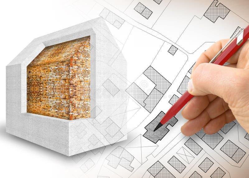 Дизайн термоизоляции старых зданий для того чтобы улучшить выход по энергии и уменьшить термальные потери - 3D представляют изобр стоковые фотографии rf