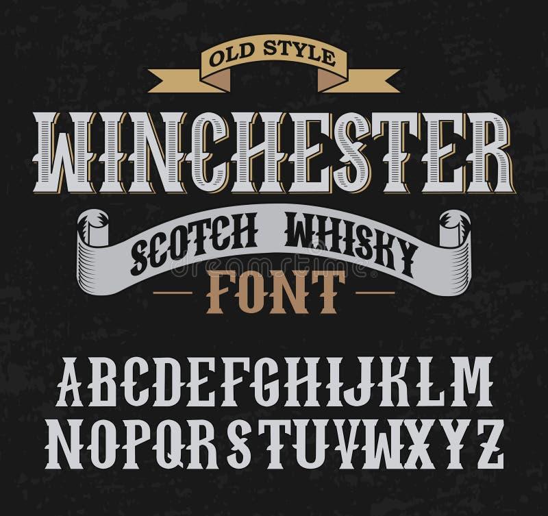 Дизайн украшения whith шрифта ярлыка Винчестер старый тип стоковое изображение rf