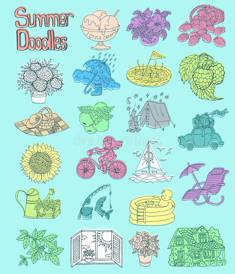 Дизайн установил с красочными чертежами значка лета с садовничать, располагающся лагерем, концепция каникул пляжа иллюстрация вектора