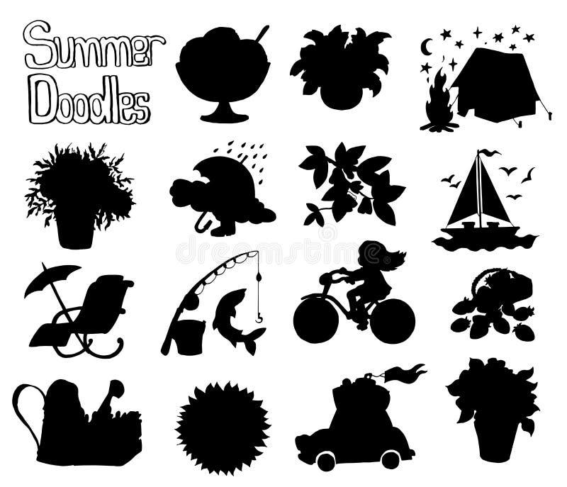 Дизайн установил с черными силуэтами чертежей значка лета на белизне иллюстрация штока