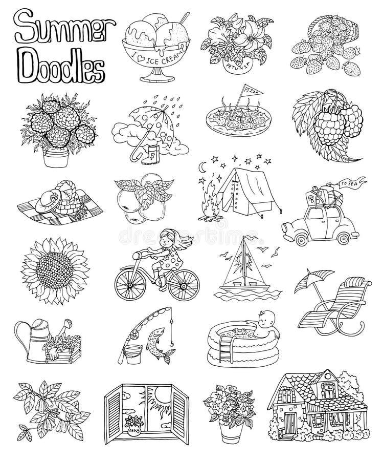 Дизайн установил с чертежами дома коттеджа, цветками значка лета, шлюпкой, винтажным автомобилем, садовничая объектами бесплатная иллюстрация