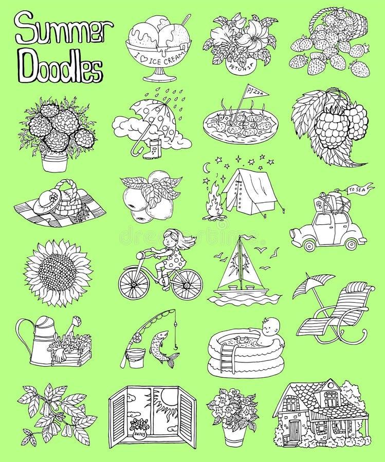 Дизайн установил с чертежами садовничать, располагаясь лагерем объектами значка лета, домом коттеджа, цветками бесплатная иллюстрация