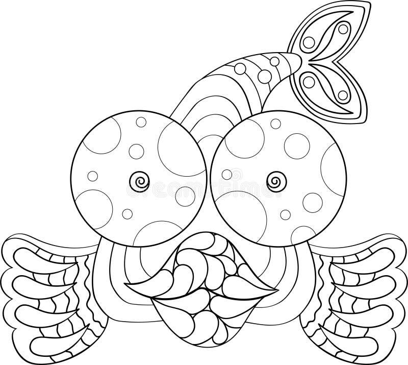 Дизайн фантазии изолированный рыбами черным по белому bling детальная иллюстрация диамантов бесплатная иллюстрация