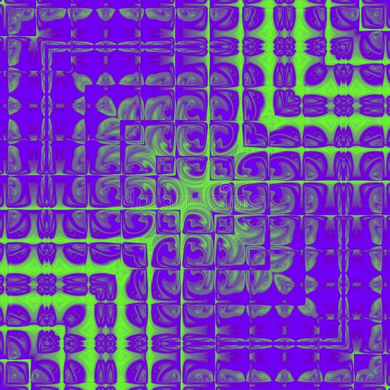 Дизайн фантазии цифров современного ультрафиолетов квадрата фрактали с неоновыми зелеными линиями и квадратной рамкой бесплатная иллюстрация