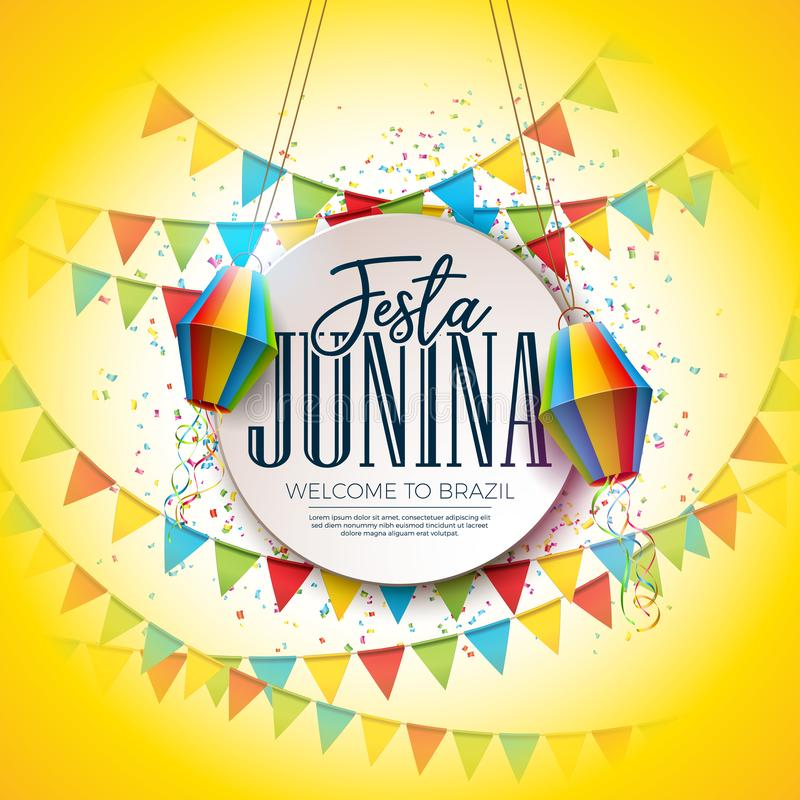 Дизайн фестиваля Festa Junina с флагами партии и бумажным фонариком на красочной предпосылке Confetti Вектор традиционный иллюстрация вектора