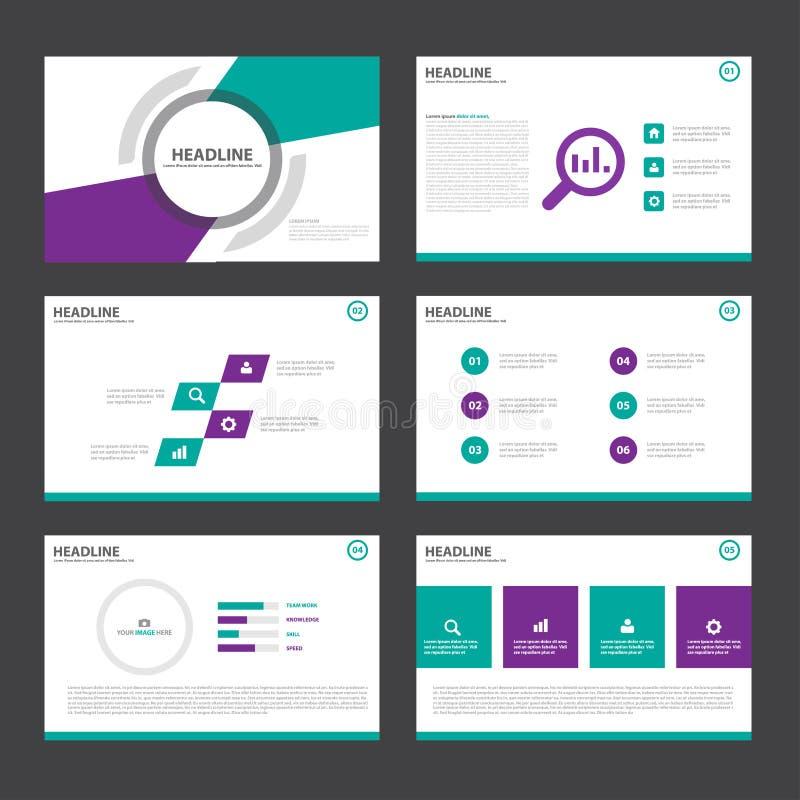 Дизайн фиолетовых зеленых элементов Infographic шаблонов представления плоский установил для маркетинга листовки рогульки брошюры иллюстрация штока