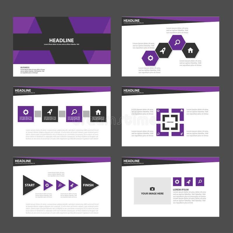 Дизайн фиолетовых и черных элементов Infographic шаблона представления плоский установил для маркетинга листовки рогульки брошюры бесплатная иллюстрация