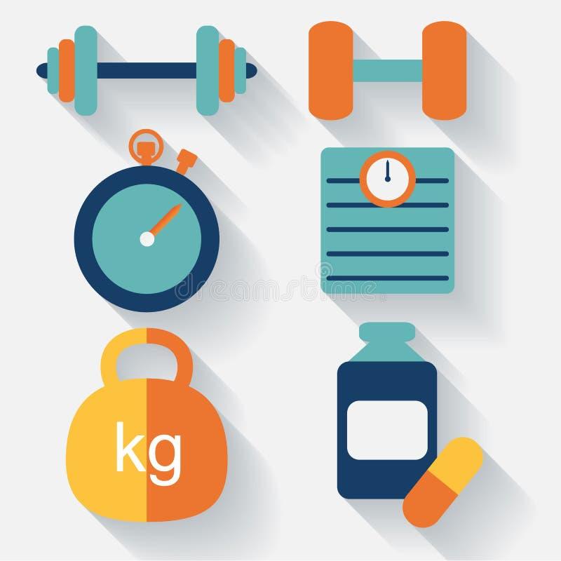 Дизайн фитнеса значок-плоский вектор иллюстрация штока