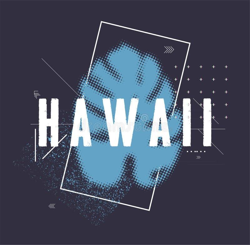 Дизайн футболки - Гаваи с тропическим разрешением бесплатная иллюстрация