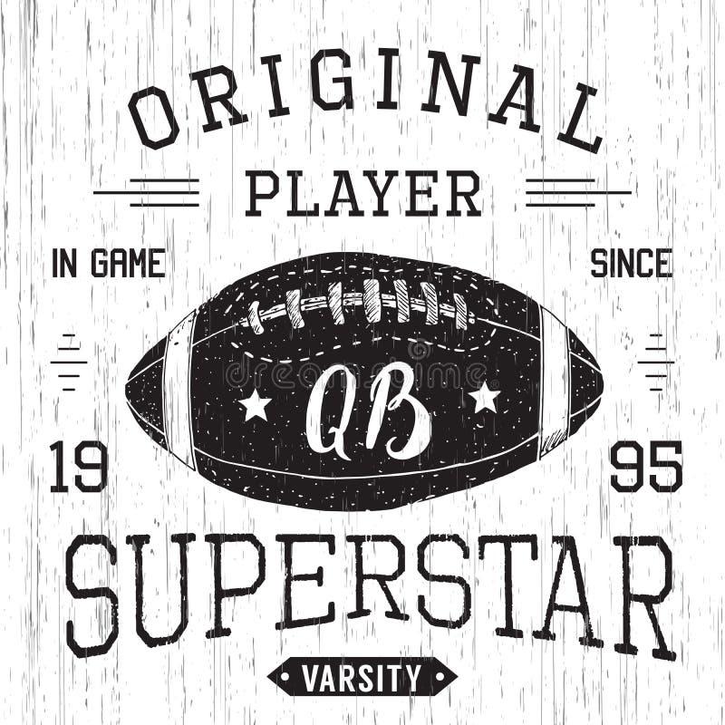 Дизайн футболки, графики оформления суперзвезды защитника футбола, иллюстрация вектора бесплатная иллюстрация