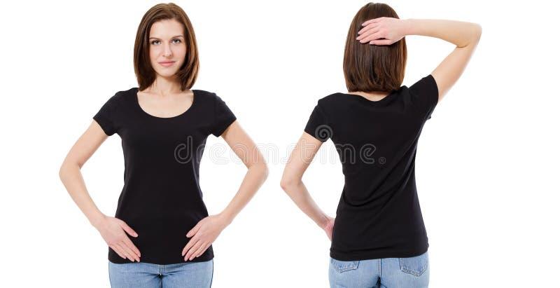 Дизайн футболки и концепция людей - конец вверх маленькой девочки в пустой черной футболке, фронте рубашки и назад изолированный стоковая фотография rf