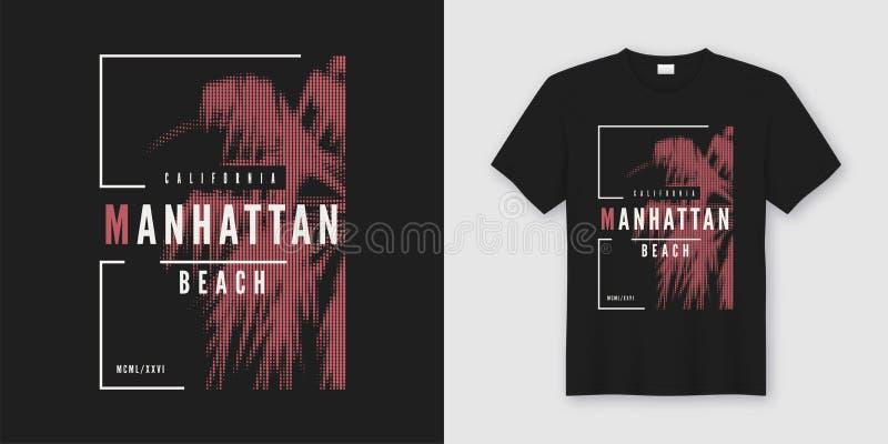 Дизайн футболки и одеяния Manhattan Beach ультрамодный с введенным в моду PA бесплатная иллюстрация