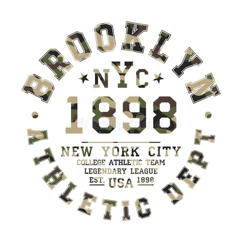 Дизайн футболки камуфлирования Атлетический милый график рубашки с воинской картиной в стиле коллежа или университетской спортивн бесплатная иллюстрация