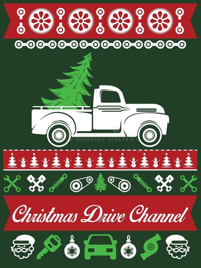 Дизайн футболки классического рождества автомобиля некрасивый иллюстрация штока
