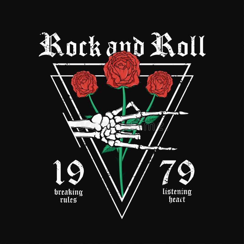 Дизайн футболки рок-н-ролл Каркасная рука держит красные розы Винтажный график стиля рок-музыки для печати футболки иллюстрация штока
