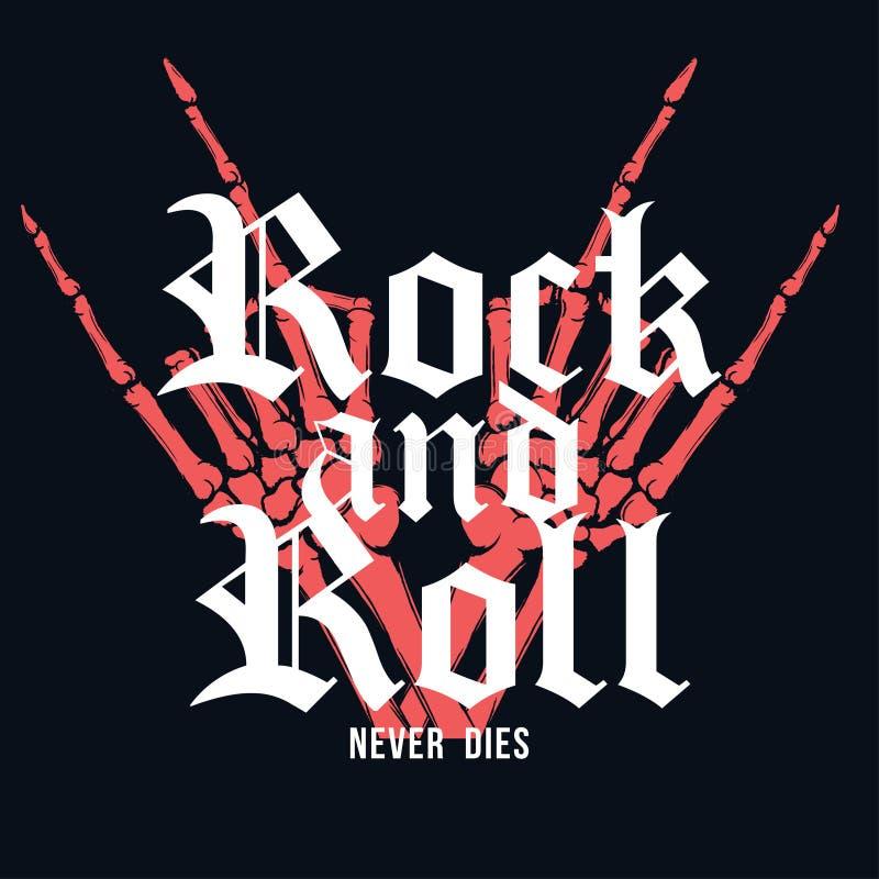 Дизайн футболки рок-н-ролл Рука скелета с литерностью на темной предпосылке Винтажный график футболки бесплатная иллюстрация