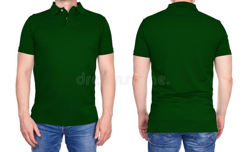 Дизайн футболки - человек в пустой темной ой-зелен изолированной рубашке поло стоковые изображения