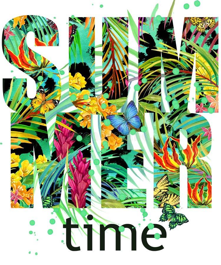 Дизайн футболки временени Текстура тропических заводов Текст временени иллюстрация штока
