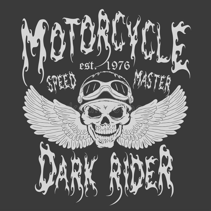 Дизайн футболки мотоцикла иллюстрация вектора