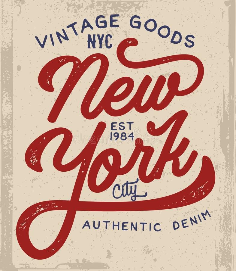 Дизайн футболки Нью-Йорка иллюстрация вектора